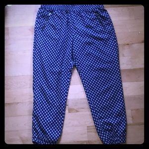 🦋 JCrew blue and white harem pants sz 10